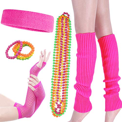 Costume 80s Fancy Outfit Accessories Set - Neon Running Headband Leg Warmers (Set 5)