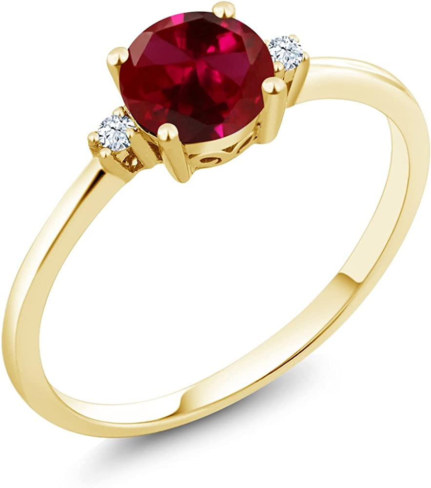 Gem Stone King 10K Yellow Gold Red Created Ruby and...