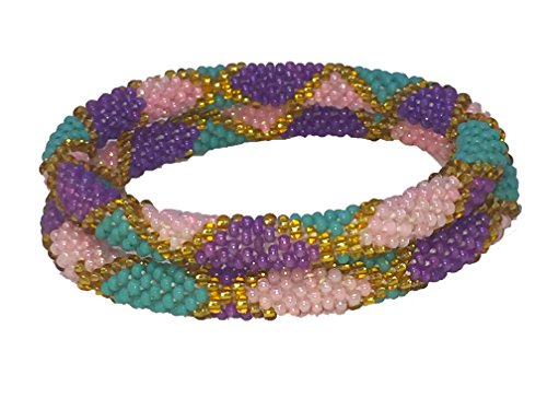 Multi Colored Glass Beaded Bracelet (Juccini Multicolored Roll On Hand Beaded Glass Seed Bead Bracelet - Set of 2. (Color 2))