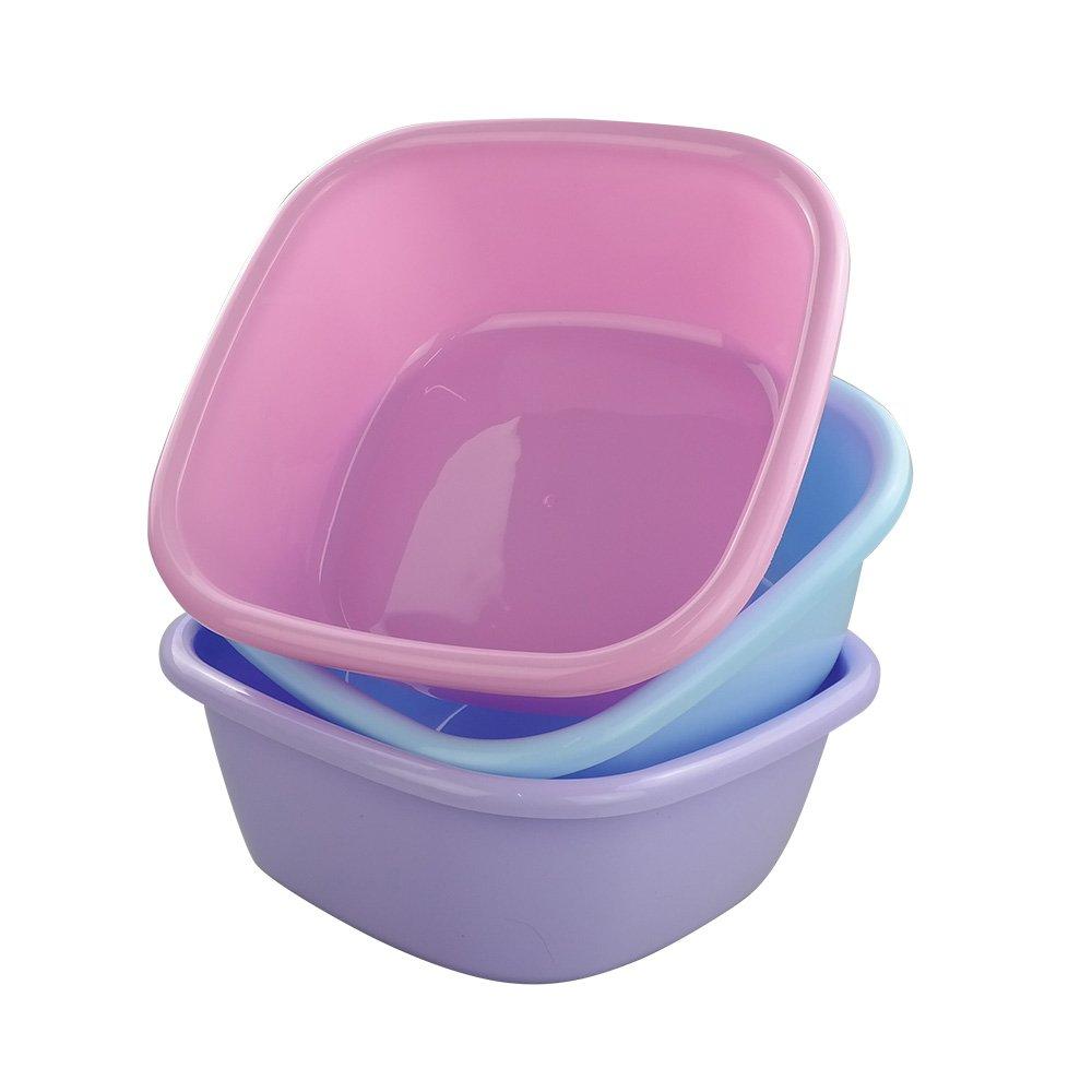 Doryh 12 Quart Plastic Square Washbasin, Set of 3