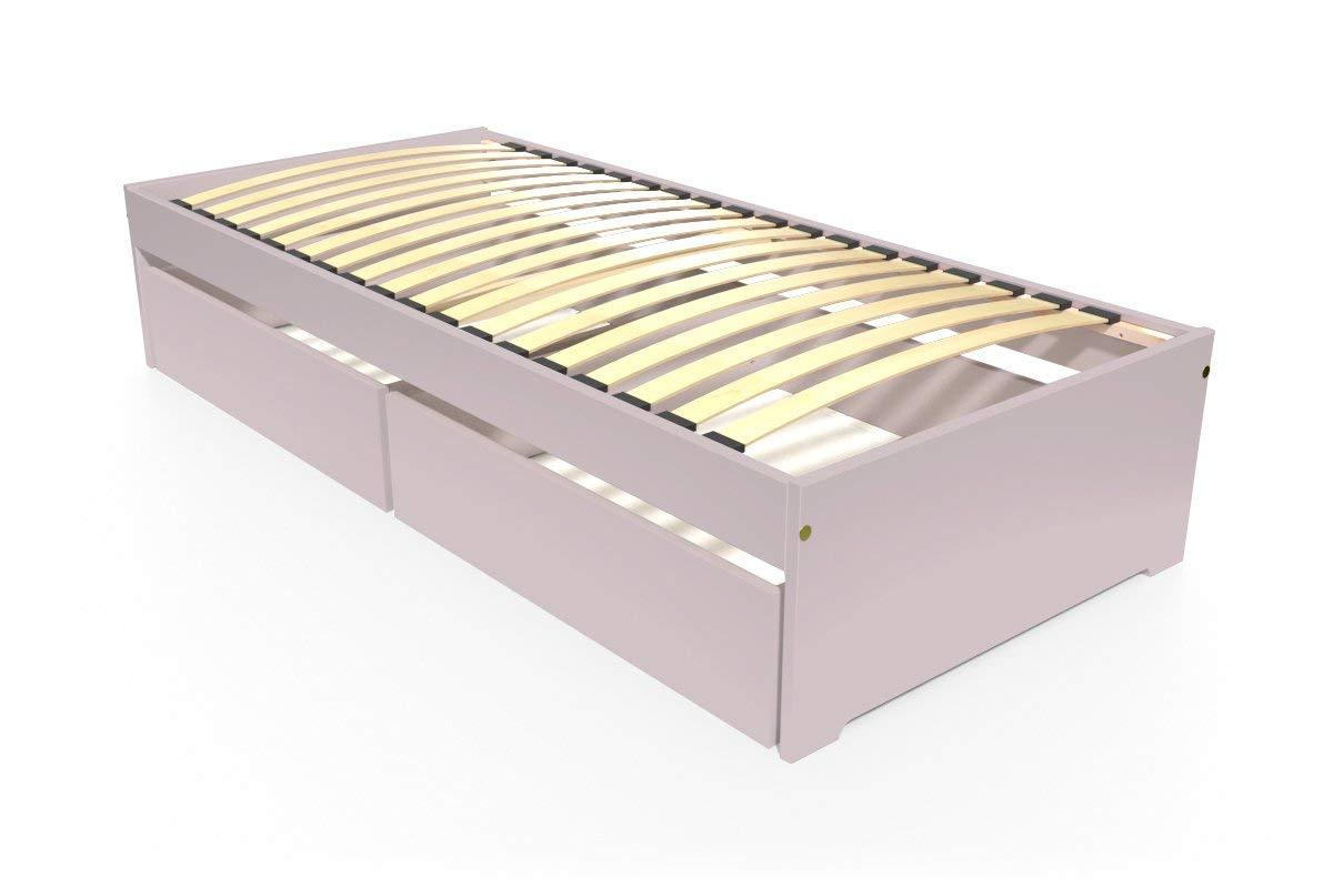 ABC MEUBLES - Einzelbett Malo 90x190 cm + Schubladen - TOPMALO90T - Pastell-lila, 90x190