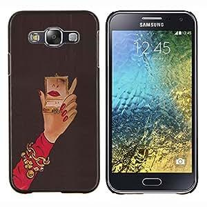 Stuss Case / Funda Carcasa protectora - Michael Espejo Mujer Red Nails Mano - Samsung Galaxy E5 E500