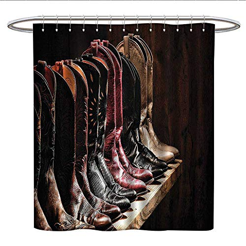 Anshesix Western Decorcloth Shower curtainVarious Type of Fancy Rodeo Cowgirl Leather Boots Collection on Wood Plank ImageCurved Shower Curtain rodBrown