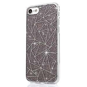 iPhone 8 Plus Case,iPhone 7 Plus Bling Glitter TPU Case,PHEZEN Geometric Pattern Shiny Sparkling Glitter Soft Soft Rubber Gel TPU Cases Silicone Back Case for iPhone 8 Plus/ 7 Plus (Grey)
