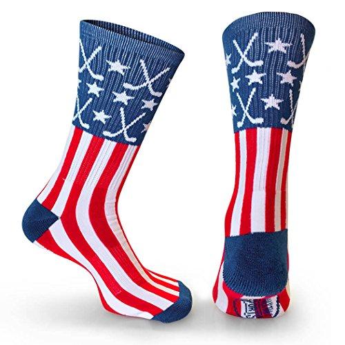 ChalkTalkSPORTS Athletic Half Cushioned Crew Socks | Mid Calf | USA Hockey | Red/White/Blue