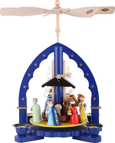 1- tier Pyramid Three Wisemen - blue - 11 inch - 27 cm - Authentic German Erzgebirge Christmas Pyramids - Richard Glässer