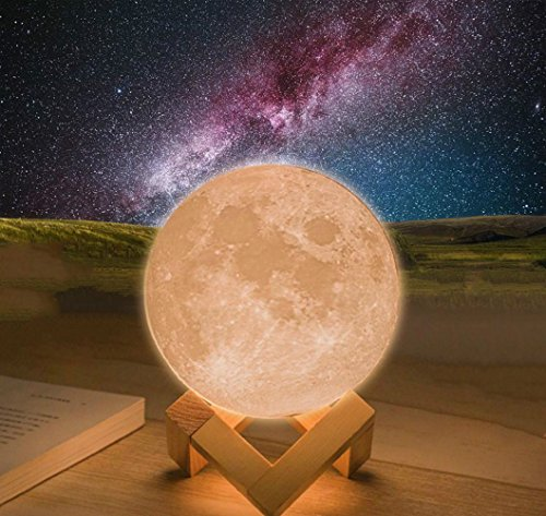 Zorvo 3D Moon,3D Creative Moon Light, Moon Lamp Night Light, USB Rechargeable Moonlight Globe Ball with Wood Stand Base Magical gift for Kids Room Baby Nursery Bedroom Decor