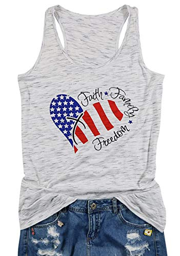 BANGELY Faith Family Freedom American Flag Tank Tops for Juniors USA Flag Star Stripe Vest Shirt Heart Patriotic Tank Tees Size Small (Grey) - Heart Juniors Tank Top