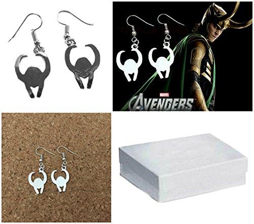 Marvel Comics (Avengers-Thor) Loki Helmet Silvertone Drop Dangle Earrings with Gift Box (Loki Avengers Costume)