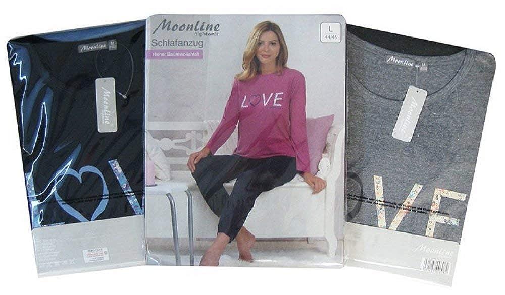 Moonline moderner und bequemer Damen Pyjama//Capri-Pyjama Verschiedene Modelle mit weicher Baumwolle