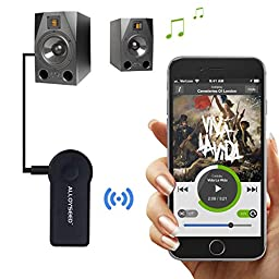 Bluetooth Receiver, Alloyseed Bluetooth Adapter, Hands Free Car Kits 3.5mm Streaming AUX Audio Music Receiver for Home Car Audio Stereo System