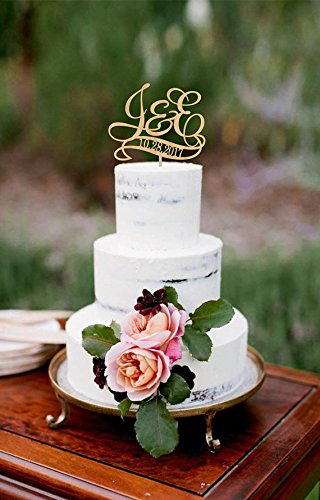 Susie85Electra Personalized Initials Wedding Cake Toppers Rustic Wood for Wedding Decorations