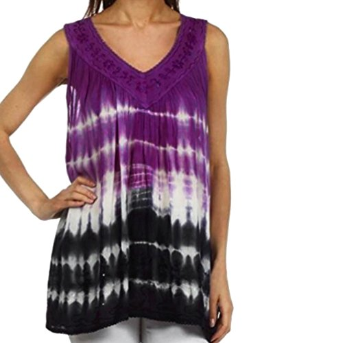 Dyed Sleeveless (Womens Tank Tops, Summer Vest Lace V Neck Pleated Tie Dyed Ombre Sleeveless Blouse T-Shirt (Purple, XXXL))