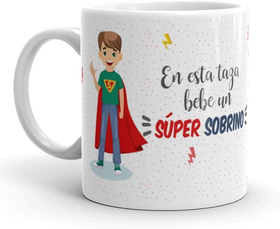Kembilove Taza de Café para Sobrino – Aquí Bebe un Super Sobrino – Taza de Desayuno para Familia – Regalo Original para Familiares, Navidad, Aniversarios – Taza de Cerámica de 350 ml