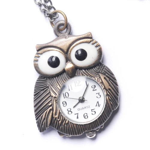 - 81stgeneration Women's Brass Vintage Style Owl Pocket Watch Chain Pendant Necklace, 78 cm