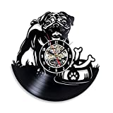 Pug Dog Vinyl Wall Clock Themed Gifts Kids Bedroom decor Ornaments Art Decorations for Boys Girls Room Presents Accessories