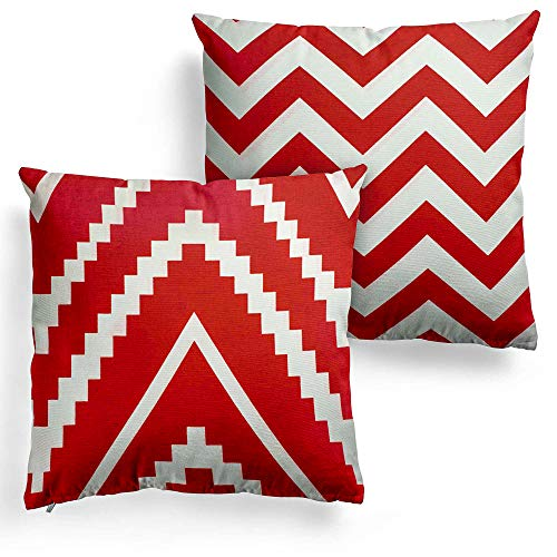 DecorRack 2 Decorative Throw Pillows with Insert and 100% Cotton Case Cover, 18x18 Square Cushion with Zipper Removable Washable, Toss Pillow for Couch & Bed, Red White Geometric Design (Set of 2)