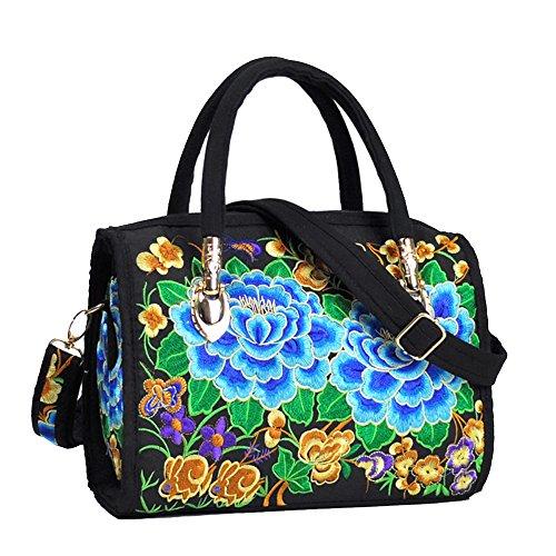 VINTAGE EMBROIDERY V.E. Women's Designer Large Top Handle Structured Tote Bag Satchel Handbag Shoulder Bag Purse … (2 Blue Flower) Flower Satchel Handbags