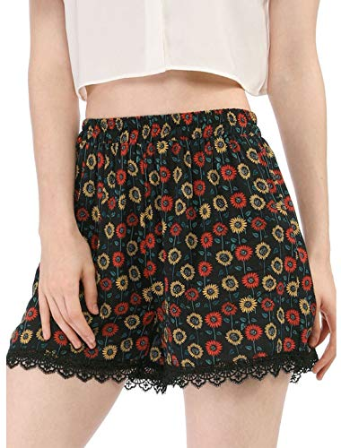 Allegra K Women's Shorts Allover Floral Printed Lace Trim Hem Elastic Waist Beach Shorts Blue-Daisy S (US 6)
