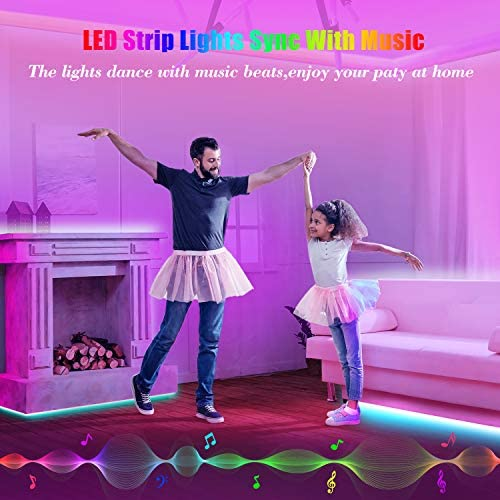 50ft Led Strip Lights, Leeleberd Music Sync Color Changing Led Light Strips, App Control and Remote, Led Lights for Bedroom Living Room Party Home Decoration