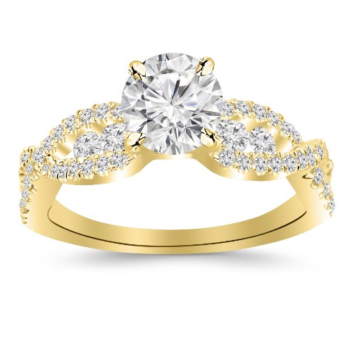 2.1 Carat Designer Twisting Eternity Channel Set Four Prong Diamond Engagement Ring 14K Yellow Gold with a 1.5 Carat J-K I1 Round Brilliant Cut/Shape Center -