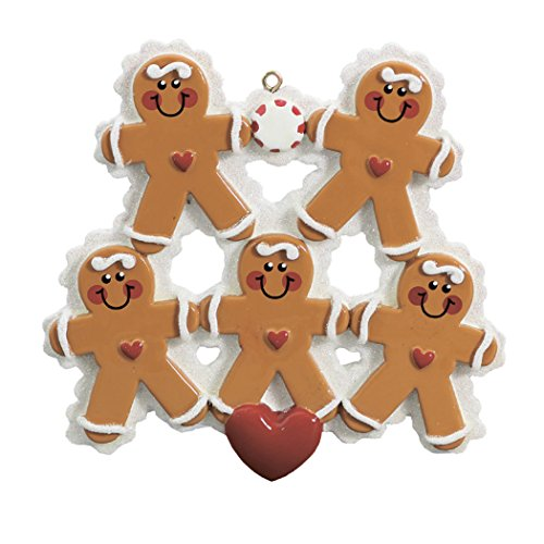 Personalized Gingerbread Family of 5 Christmas Ornament Tree 2018 - Parent Children Sibling Friends Cookie Hold Hand Heart - Holiday Sweet Candy Winter Activity Tradition - Free Customization ()