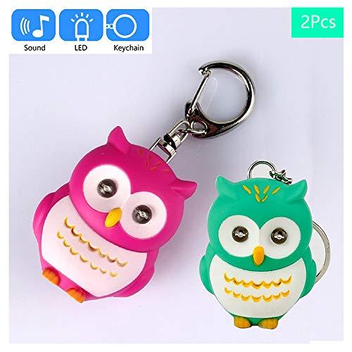 Mini Owl Torch Key Chain,Cute Owl LED Flashlight Keychain with Sound,Cartoon Animal Torch Keyrings 2Pcs(red+green)