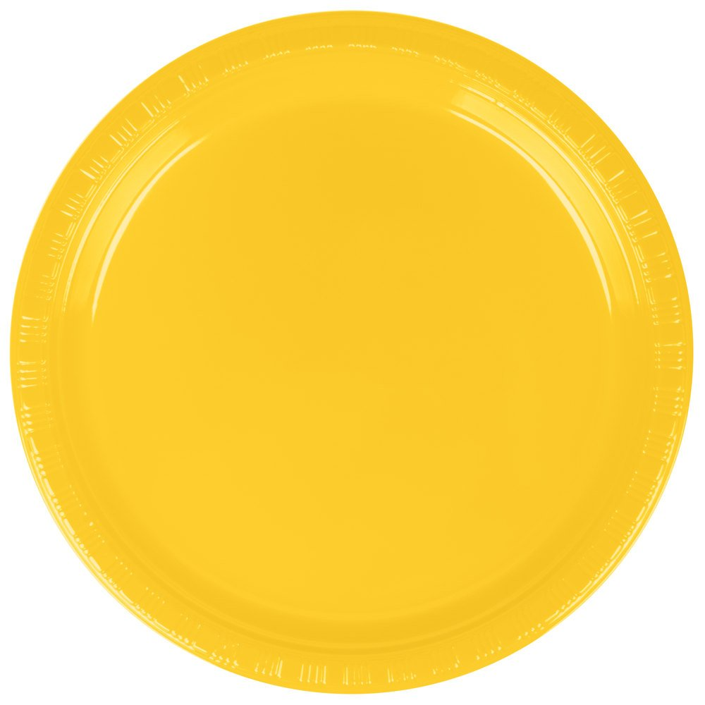Creative Converting 28102111B 7'' School Bus Yellow Plastic Plate - 50/Pack