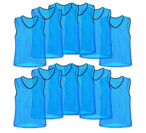 Unlimited Potential Nylon Mesh Scrimmage Team Practice Vests Pinnies Jerseys for Children Youth Sports Basketball, Soccer, Football, Volleyball (Sky Blue, Adult)