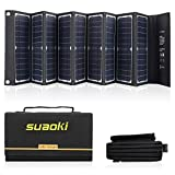 SUAOKI Solar Charger 60W Portable Solar Panel Foldable for Suaoki/Enkeeo/Goal Zero Yeti/Webetop/Paxcess/ROCKPALS Power Station Generator and Laptop Tablet GPS iPhone iPad Camera