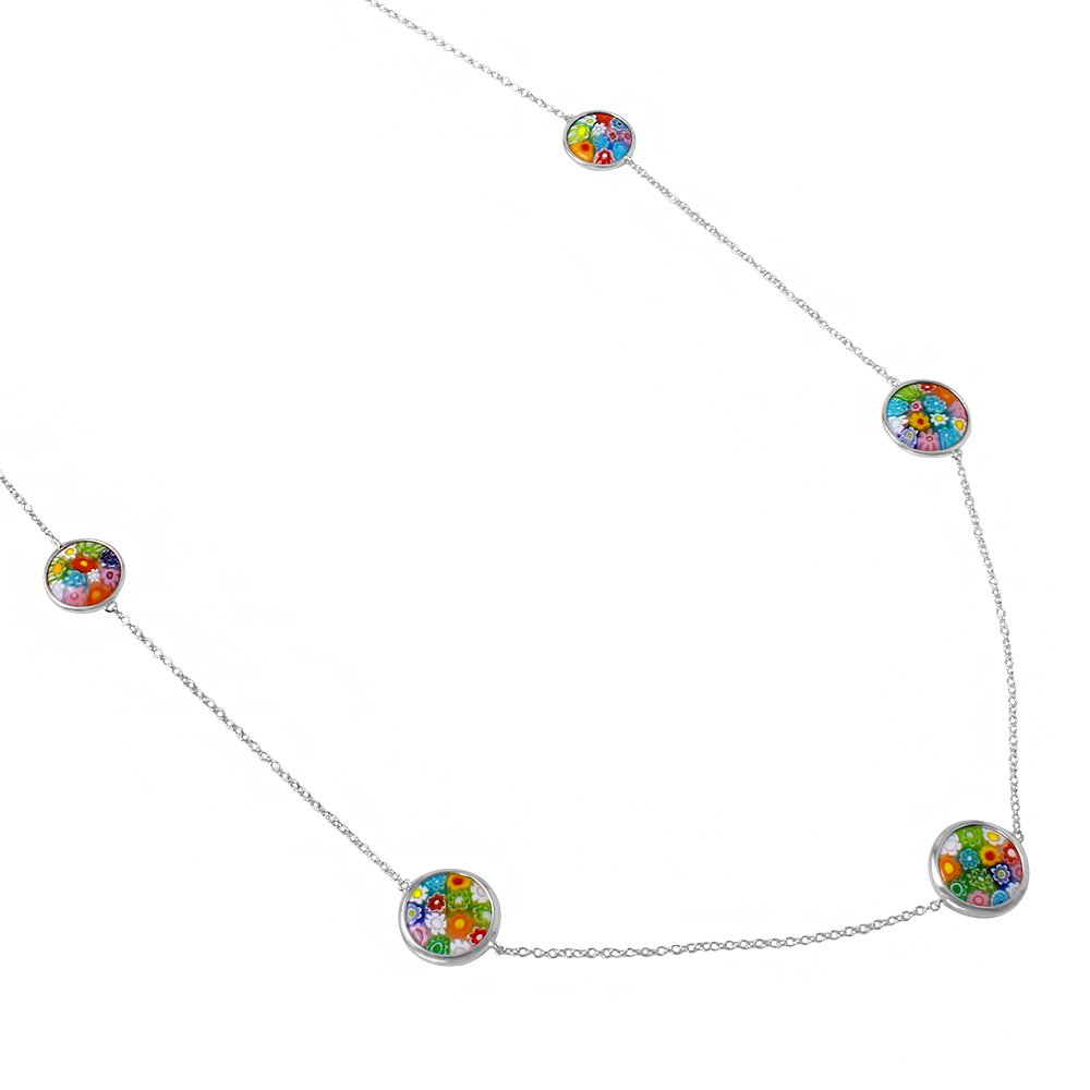 Round Multicolor Murano Millefiori Glass Double Sided Necklace Rhodium Plated 925 Sterling Silver 31'' + 1''
