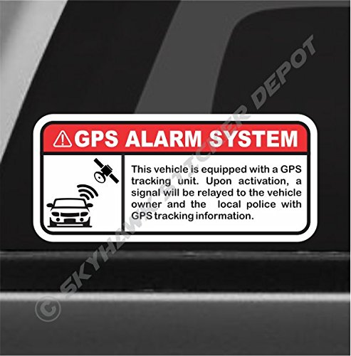 (GPS Alarm System Warning Sticker Set Vinyl Decal Anti Theft Car Motorcycle Vehicle Security Sign)