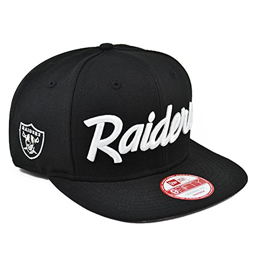 fdbed4c2c2a New Era Los Angeles Raiders 9Fifty Black and White Vintage Script N.W.A  Adjustable Snapback Hat NFL