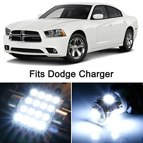 19 x Premium Xenon White LED Lights Interior Package Upgrade for Dodge Charger (2007-2016) Xenon Dodge Charger