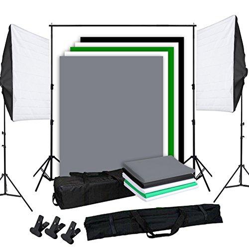 OUBO Profi Fotostudio Set inkl. 5x Hintergrundsystem Hintergrund Studioleuchte Studioset 270W Blitzlampe Softbox Light 2x 2m Lampenstativ Tragtasche