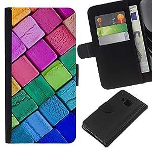 KingStore / Leather Etui en cuir / HTC One M9 / Crayon Tiza Azul Rosa Kids colorido
