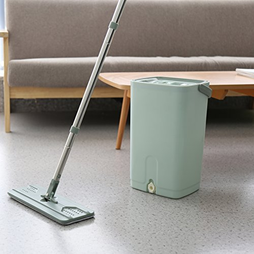 Helang Wet Mop Flat with Bucket PP material Squeezing Mop Wash Dry Home Floor Cleaning Tools by Helang (Image #4)