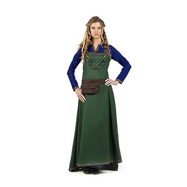 traje medieval para las mujeres se visten Oria con el azul verde bolso de la cintura: Amazon.es: Juguetes y juegos