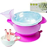 stainless steel baby food masher - RyanLemon Suction Bowl Insulated Water Bowl Stainless Steel Bowl Baby Bowls Funnel Water Injection Baby feeding bowl ,Bonus Grinding Masher Bowl Set and 2 of Heat Sensitive Spoon