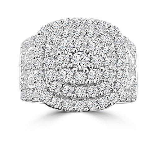 2.50ct Genuine Round Diamond 10k White Gold Square Cluster Cocktail - Cluster Ring 10k Diamond