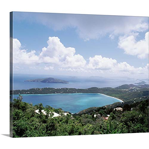 Premium Thick-Wrap Canvas Wall Art Print Entitled US Virgin Islands, St. Thomas, Magens Bay, High Angle View of Bay 24