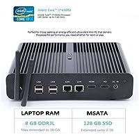 HYSTOU FMP05B Intel Core I7-6500U, Gaming Mini Pc, Mini Desktop Computer,Finless Mini Box PC,Power Interuption Recovery,Support Dual Display,Windows 10 (64 bit) (8GB RAM 128GB SSD)