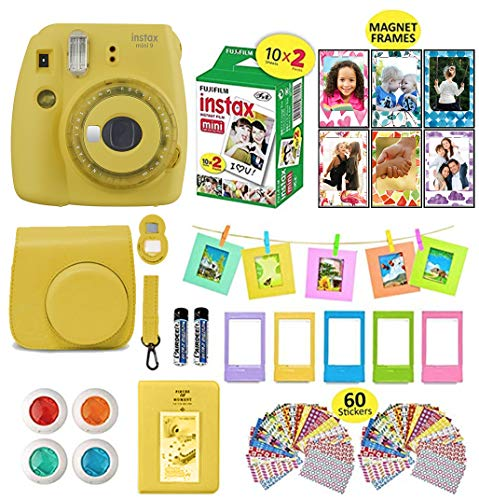 Fujifilm Instax Mini 9 Instax Camera Bundle (Yellow) + Instant Camera Film 40 Sheets + Case + Instax Camera Accessories Bundle, 1 Albums, 4 Color Lenses, Selfie Lens, 5 Desk Frames + 60 Stickers (Professional Mini Camera)