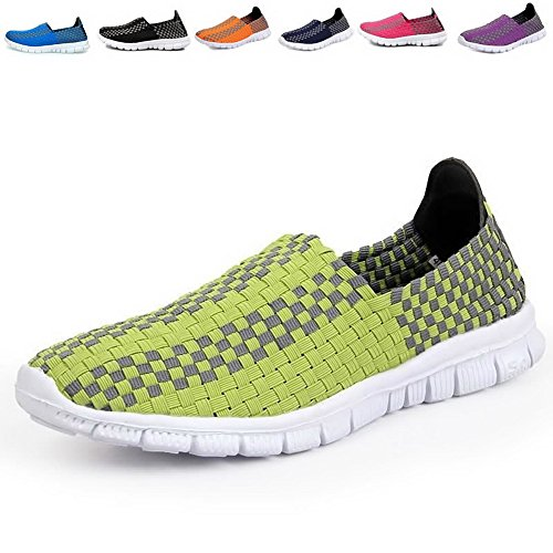 Men & Women Easy Wear Dry Fast Light Weight Breathable Cool Comfortable Mesh Outdoor running Walking shoes Green US9/EU40/25.0CM (Planters Lightweight Trough)