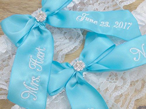 Turquoise Bridal Garter, You're Next Wedding Garter Set, Custom Garters, Something Blue by Ella Winston