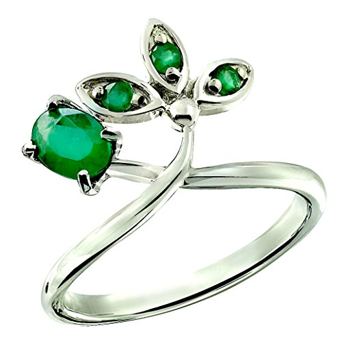 RB Gems Sterling Silver 925 Ring GENUINE GEMSTONE Oval 5x4 mm with RHODIUM-PLATED Finish, CROWN Design (7, emerald)
