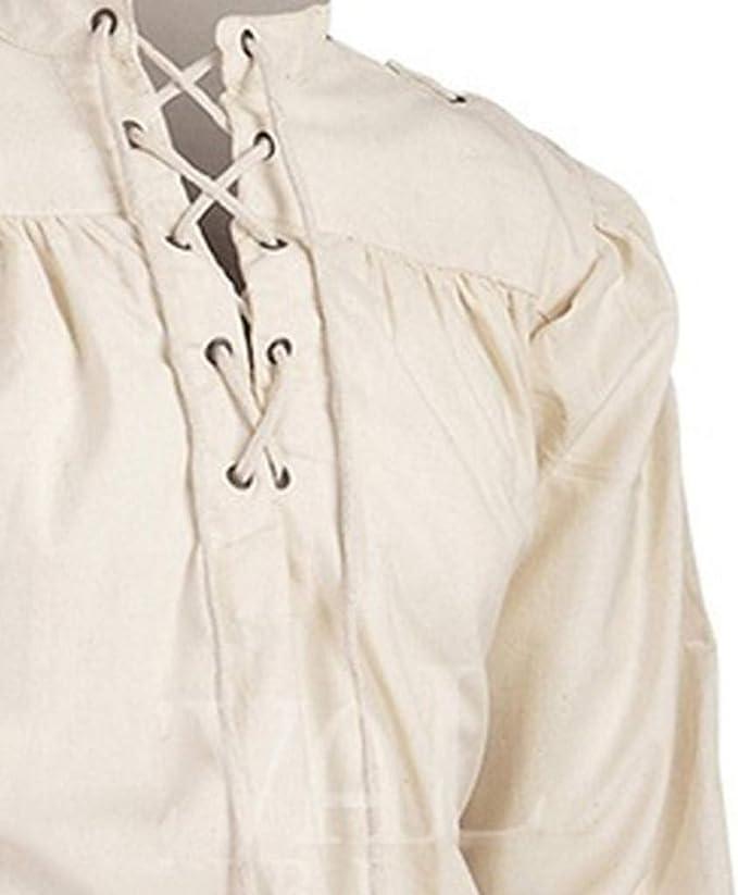 Luckycat Gótico Camisa con Cordones renacentista Medieval Túnica Medieval Traje Caballero Viking Guerrero Camiseta con Cordones para Hombres Disfraz de Pirata de la Edad Media: Amazon.es: Ropa y accesorios