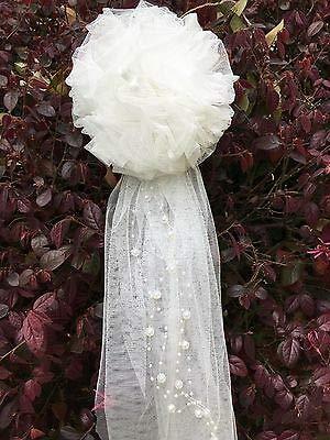 FidgetFidget 6pcs Tulle Pom Pew Bows Flower Tulle Wedding Decor Quinceanera -