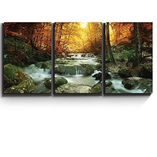 Forest Waterfall Scene Wall Decor x3 Panels