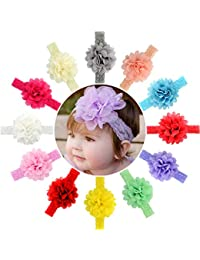 12pcs Baby Girls Headbands Chiffon Flower Lace Band Hair...